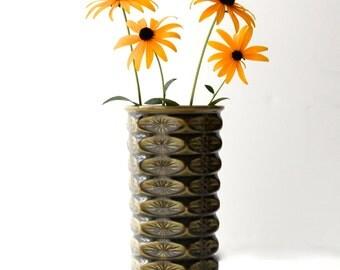 McCoy Floraline Vase, Diamond, Starburst Pattern, # 400, Olive Green, 1950s