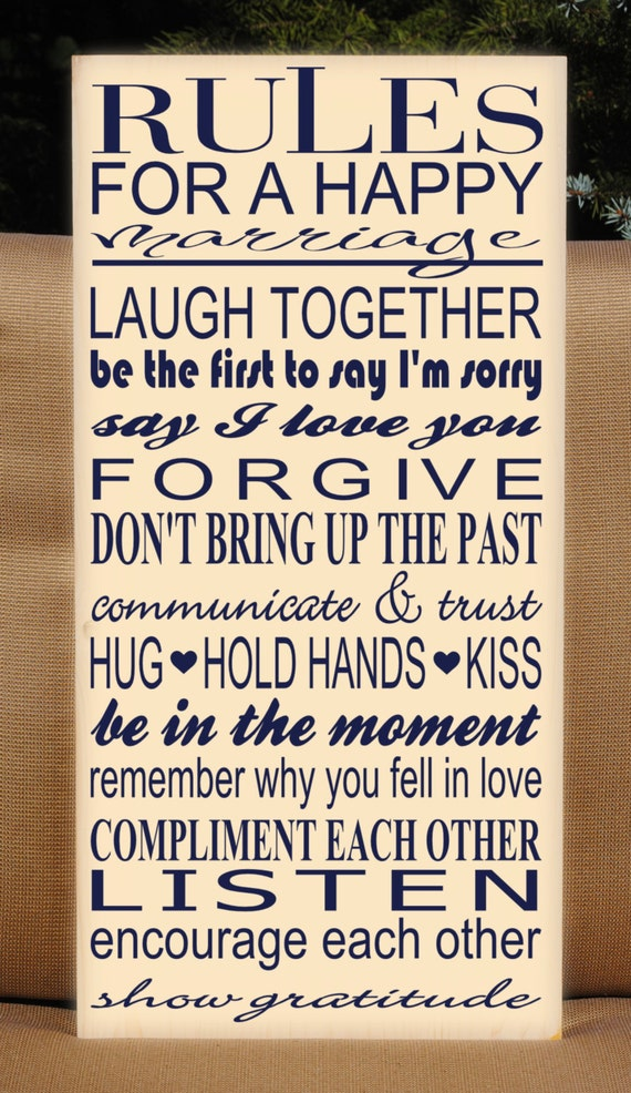Rules For a Happy Marriage Wall Decor Subway Art by ...