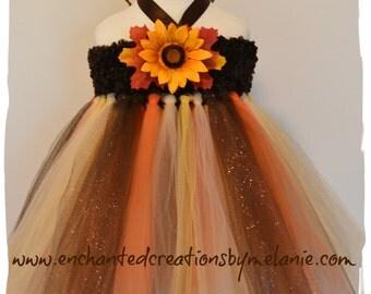 Thanksgiving Autumn Harvest Tutu Dress with Custom Matching Halo!
