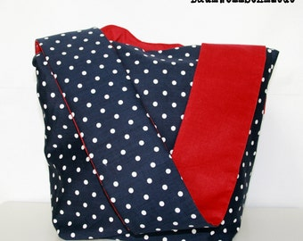 Reversible Sling Crossover Bag  Blue & Red w/ Polkadots