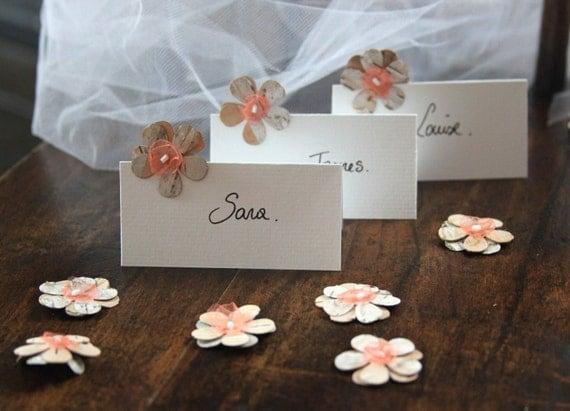 Fleurs corce de bouleau fleurs orange corail fleurs tulle - Marque place fait main ...