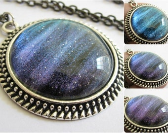 Blue Borealis - Circle Necklace - Science Jewelry - Galaxy Jewelry - Physics Jewelry - Planet Jewelry - Galaxy Necklace - Glass jewelry