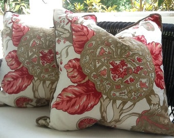 """Schumacher Pillow Cover in Coral, Tan and Khaki Floral """"Mandalay"""" Linen"""