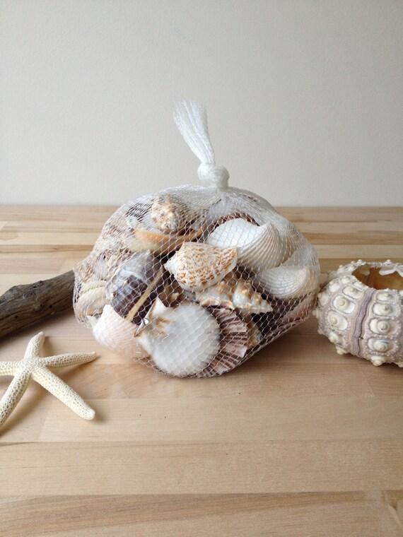 Items similar to beach shells in net bag wedding decor for Beachy decor items