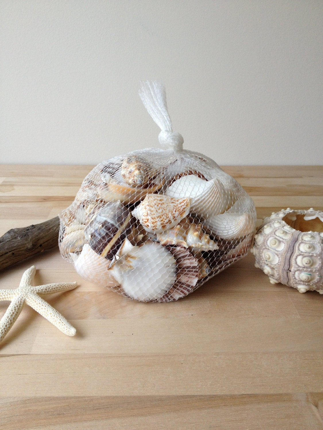 Beach shells in net bag wedding decor home decor from for Shells decorations home