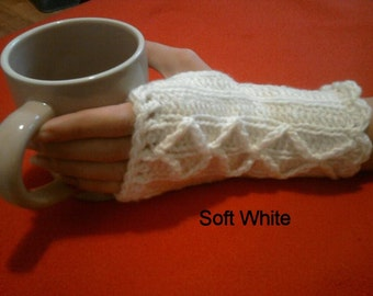 Handmade Fingerless Glove with decorative cable, made to order.