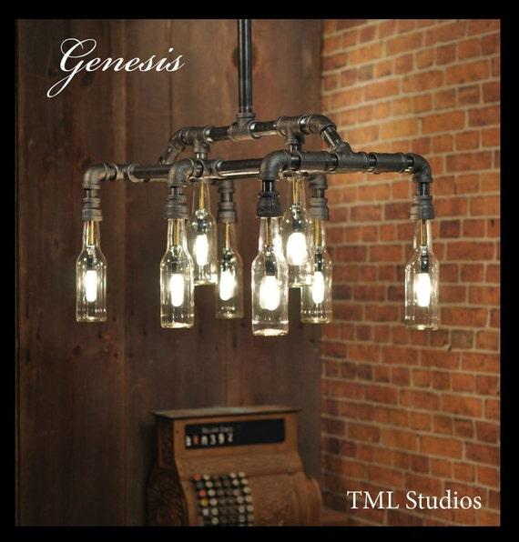 Mason jar lighting mason jar chandelier mason jar lamps lights - Genesis Industrial Steampunk Chandelier Beer Bottle Light