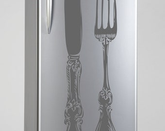 Silverware Silhouette Removable Refrigerator Decor Decal Vinyl Sticker Mural