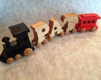 """CLEARANCE! Wooden train letters """"PAT"""" between engine and caboose"""