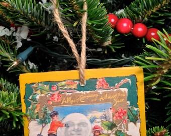 Vintage Christmas Postcard Ornament #016
