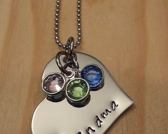 Hand Stamped Grandma Necklace Nana Necklace or Mom Necklace with 3 Birthstones