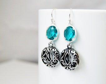 Aqua Crystal, Drop Earrings, Eco Friendly, Crystal Drop Earrings, Modern Filigree Trendy