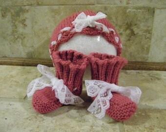 Pink Baby Hat & Booties