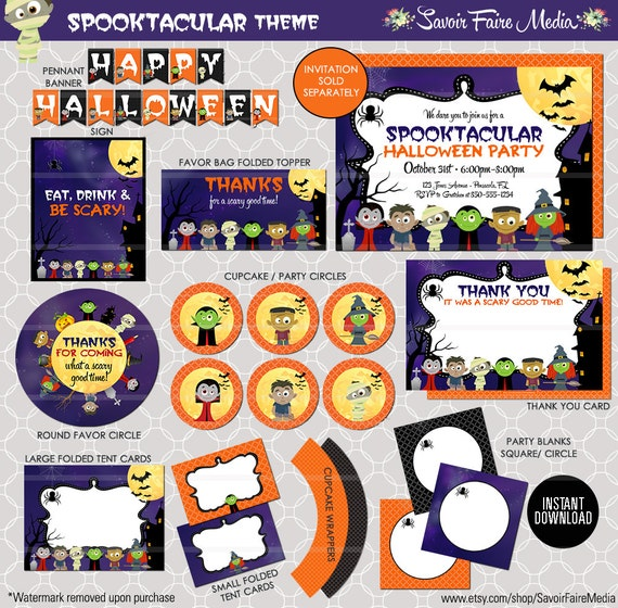 halloween birthday party invitation printables huge bundle favor