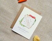 Happy Anniversary to My Other Half Sandwich Card. Clever, Cute Hand-Painted Watercolor Illustration Print Greeting Card.