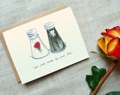 You Were Made For Each Other Wedding & Engagement Card. Salt And Pepper Shakers Bride And Groom Card. Hand-Painted Watercolor Illustration.