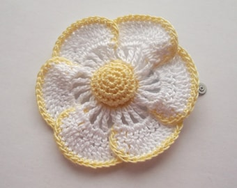 flower hair clip, daisy hair clip, white and yellow daisy, daisy, girls hair clip, hair clip