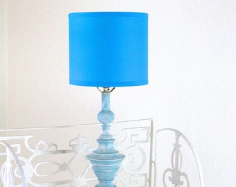 TABLE LAMP Distressed Blue White Cottage Chic Weathered Baby Room Lampshade Hand Painted Annie Sloan Chalk Paint