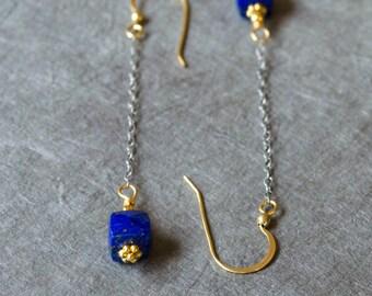 Lapis lazuli earrings, Very long dangle earrings, Blue genuine lapis, Lapis dangle earrings, Gold lapis earrings, Blue dangle earrings
