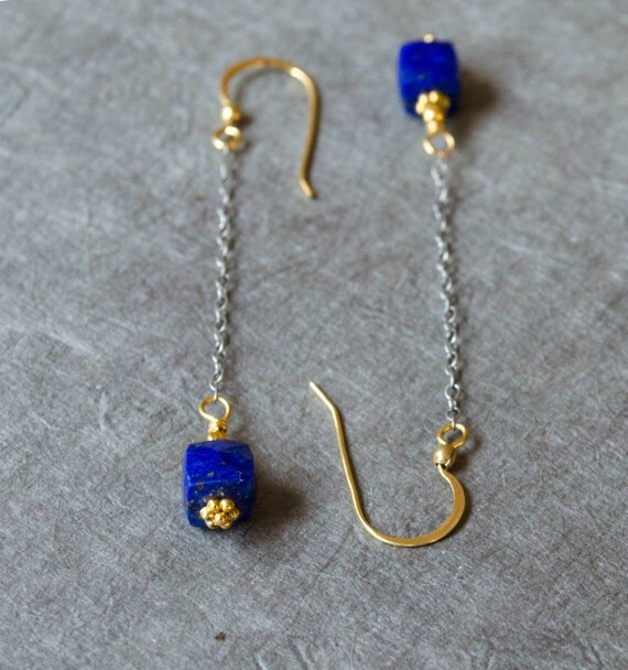 lapis lazuli earrings very long dangle earrings blue genuine