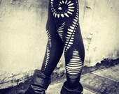 Braided Spiral  Leggings - handmade,tribal,hippie,goa,psy trance,boho,party,festival,shredded,braided,cut,open,black,stretchy leggings.