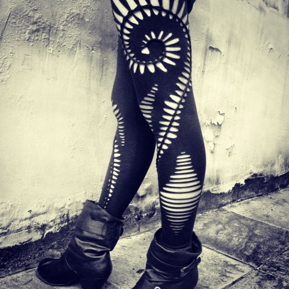 Braided Spiral  Leggings - handmade,tribal,hippie,goa,psy trance,boho,party,festival,shredded,braided,cut,open,black,stretchy leggings.