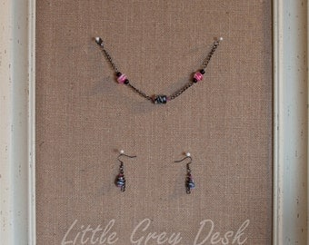 Pink, Black, and White bracelet and earring set