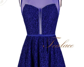 Blue Lace 1950's Inspired Dress with Sheer back