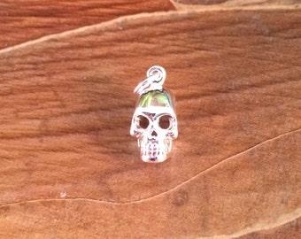 Skull Charm, Skull Pendant, Silver Skull Charm, Silver Skull Pendant, Silver Plated Charm, Silver Pendant, Bones, Skeletons