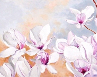 "Magnolia Blossoms Original Botanical Painting Acrylic on Canvas 15""x30"""