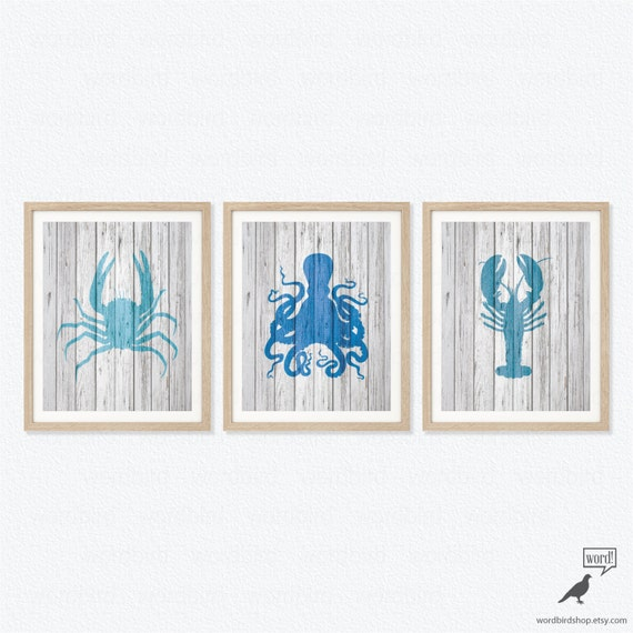 Items similar to set of 3 turquoise blue nautical wall for Beachy decor items