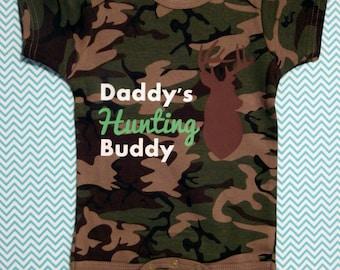 Camo Baby Onesie - Daddy's Hunting Buddy, baby shower gift, redneck baby bodysuit, hunting baby onesie, baby boy romper, hunting romper