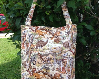 Australian Animals Fabric Purse, Shoulder Bag, Theme Bag, Tote Bag, Gifts, Diaper Bag, Book Bag, Lunch Bag, Bible Carrier