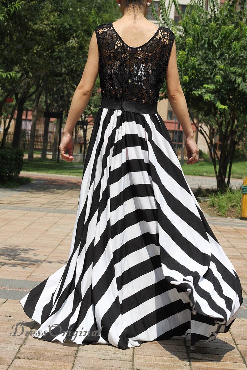 2014 Lace dress/maxi dress/ black/white stripe dress long