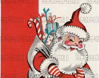 Retro Santa Claus Greetings Christmas Card #37 Digital Download
