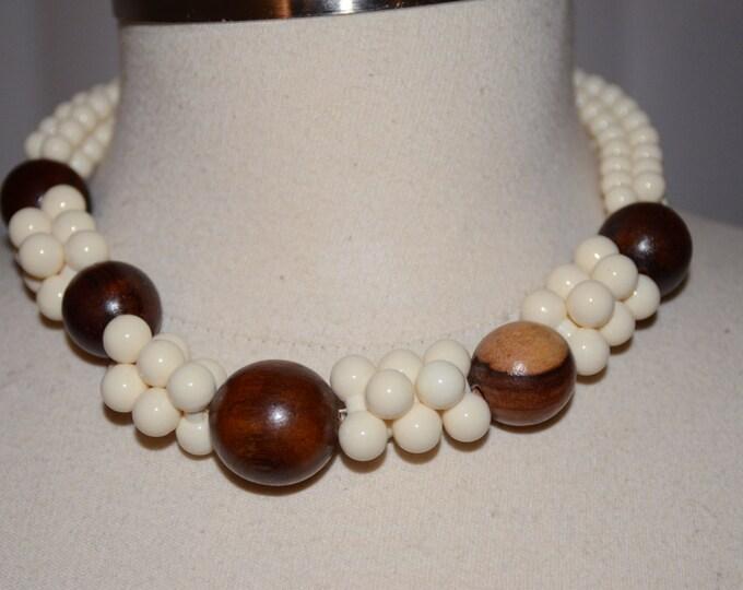 Yves Saint Laurent Signed Wood Beaded Vintage Estate Necklace