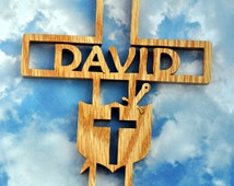 Personalized Wooden Sword and Shield Cross