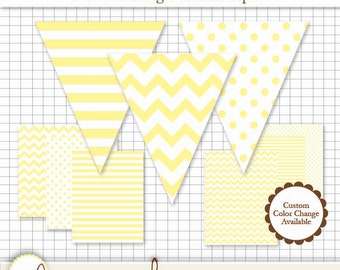 Printable Pennant & Paper Set - Light Yellow Pennant 3 Designs - 4 Sizes Each. 6 Papers. Stripe, Chevron and Polka Dot