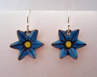 Blue Flower Ear Wires
