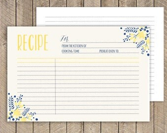 Yellow and Navy recipe card, Printable recipe Card 4x6, instant download recipe Card, bridal shower recipe, Kitchen Shower Recipe Card