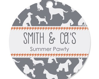 20 Custom Dog Silhouettes Party Tags - Dog Party Craft Supplies