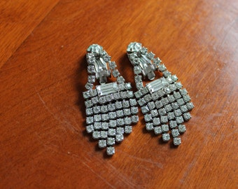 Vintage Rhinestone Clip On Earrings with Cascading Rhinestones