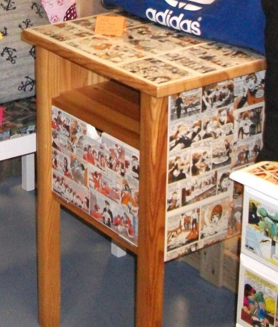 Up Cycled Decoupage Custom Made Comic Book Furniture By Indianas