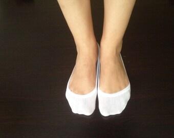 White Cotton Lace Heels Socks,Bridal wedding dance shoes slippers,Toe Sock, Flats Lace Short Socks,Girly Lace fashion Sock,Scallop Lace sock