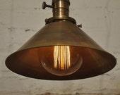 Solid Antique Brass Pendant Light Fixture Rustic Vintage Industrial Retro