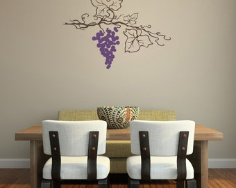 Hanging Grape Vine Wall Decal-Removable Wall Art Sticker-Multiple Colors