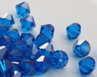 50 Vintage Swarovski Crystal Beads, 5mm Capri Blue Article 5301, 50 Vintage Crystal Beads, Blue Crystal Beads