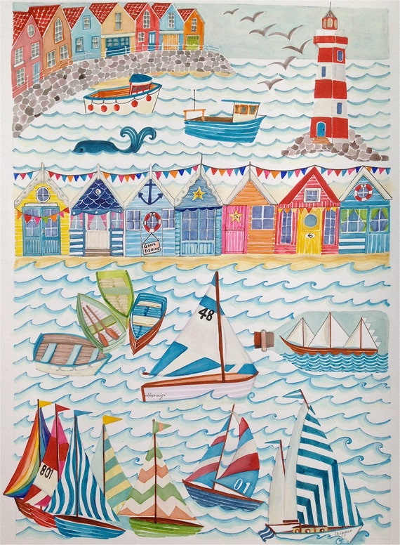 Nautical seaside illustration a4 a3 sailing boats by for Beach hut decoration items