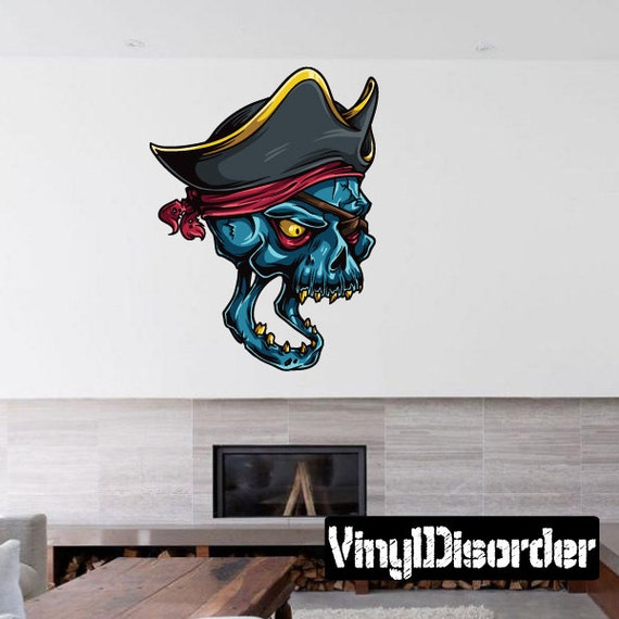 pirate skull wall decal wall fabric vinyl decal. Black Bedroom Furniture Sets. Home Design Ideas
