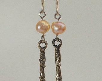 Pink pearl, sterling silver earrings